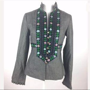 Nanette Lepore Gray Floral Nordic Blazer Jacket